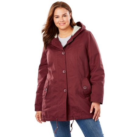 Plus Size Sherpa-lined Hooded Parka ()