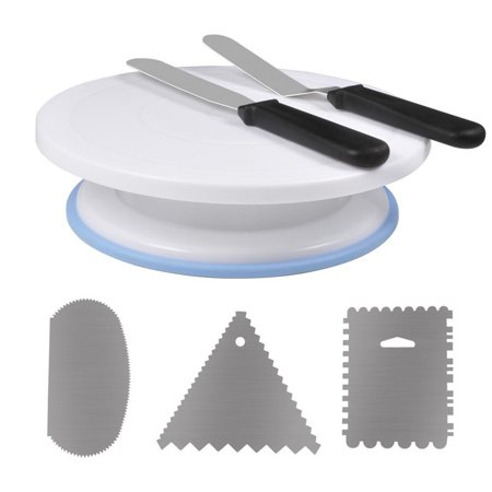 Cake Decorating Supplies with 11 Inch Rotating Cake Turntable Stand, 2  Icing Spatula, 3 Cake Scraper Combs
