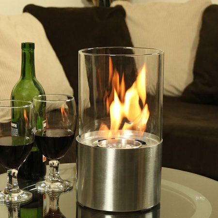 Sunnydaze Fiammata Tabletop Fireplace, Ventless Bio Ethanol, Stainless Steel