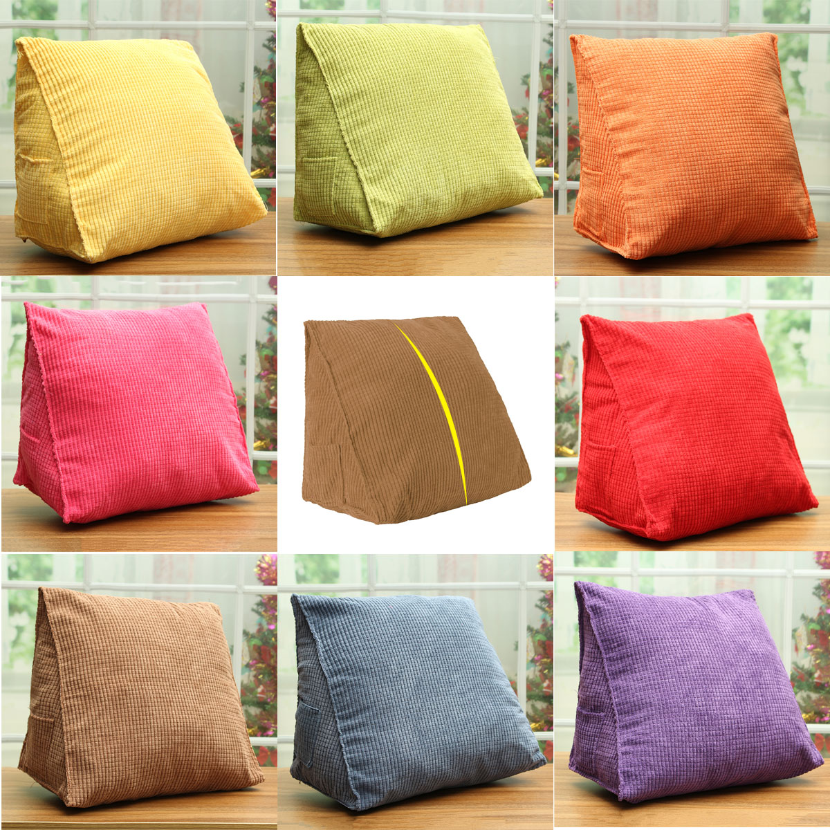Triangle Soft Cotton backcushion Child Kids Car Seat Sofa Chair Waist Back Support Pillow Cushion Rest Pad 15''x8''x12''