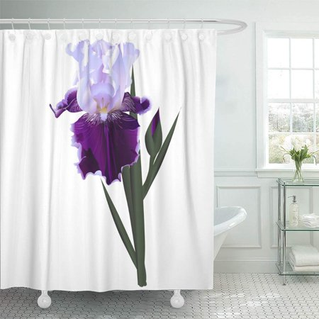 PKNMT Aroma Iris Flower White Purple and Pink Beautiful Beauty Bloom Blossom Botanical Shower Curtain Bath Curtain 66x72 inch
