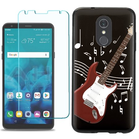 For LG Stylo 4 / Stylo 4 Plus Phone Case , Slim-Fit TPU Case (Black Bezel) with Tempered Glass Screen Protector, by OneToughShield  - Guitar