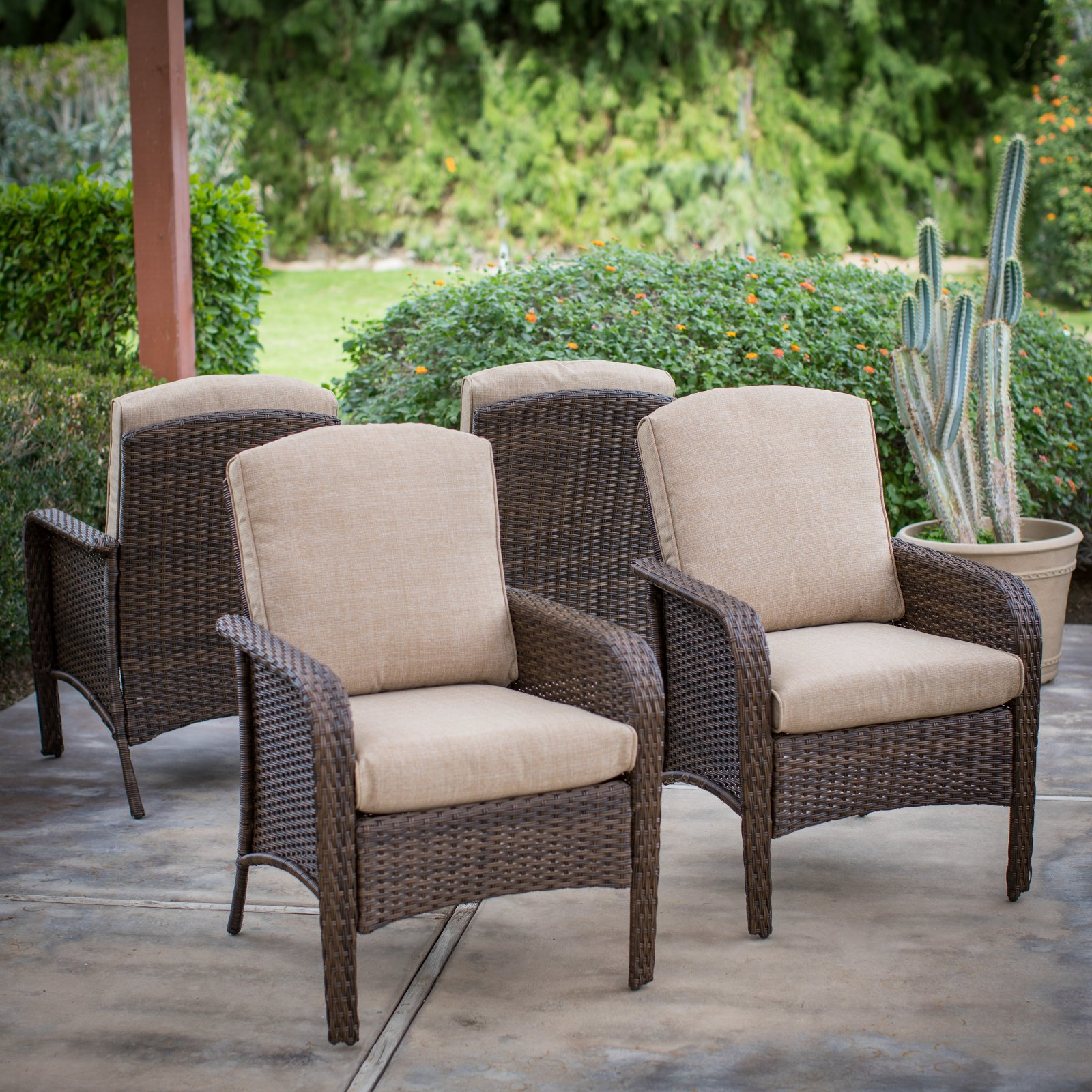 Coral Coast Tiara Garden All Weather Wicker Patio Dining Chairs   Set Of 4