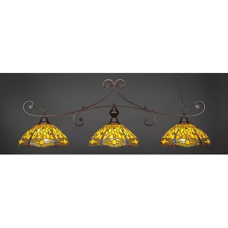 Bronze Finish 3 Light Bar w Amber Dragonfly Glass
