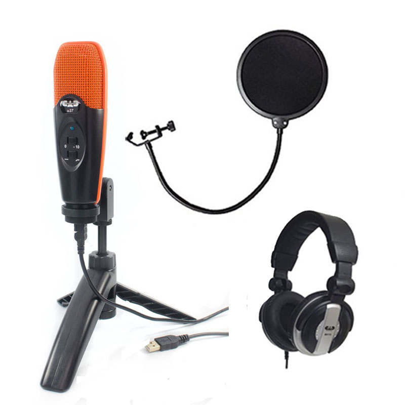 "CAD Audio U37 USB Studio Condenser Vocal,Instrument & Recording Microphone, Orange With CAD Audio 6"" Pop Filter on Gooseneck + CAD Audio MH110 Studio Monitor Headphones"