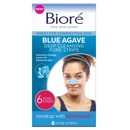 6 Count, Bioré Blue Agave Deep Cleansing Pore Strips, Combination Skin, Oil-Free, Non-Comedogenic Use