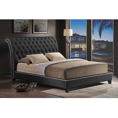 Baxton Studio Jazmin Tufted Queen Modern Bed with Upholstered Headboard, Black