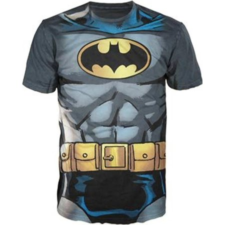 Batman Muscle Costume With Logo Charcoal Adult T-Shirt](Batman Costume Shirt)