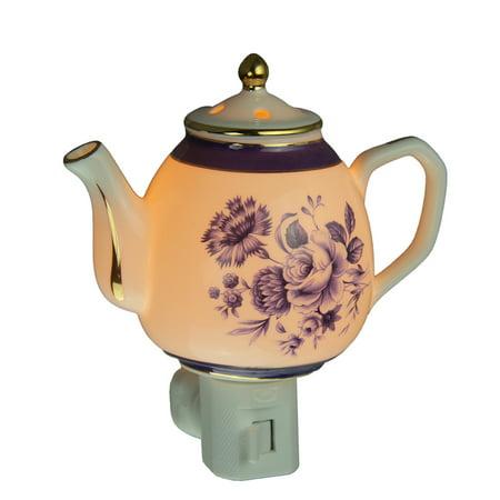 Blue Garden Flowers White Porcelain Teapot Plug In Night - Lighting White Porcelain