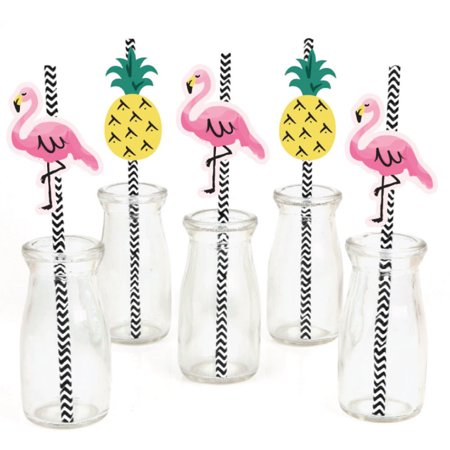 Flamingo - Party Like a Pineapple - Paper Straw Decor - Baby Shower or Birthday Party Striped Decorative Straws - Set of