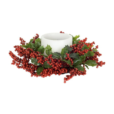 Melrose 16 in. Royal Christmas Holly Leaf and Berry Candle Ring - Set of - Holly Berry Candle Rings