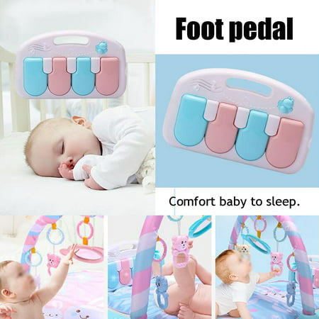 3 In 1 Baby Activity Gym Lay & Play Mat Soft Fitness Music And Lights Fun Piano Ring Bell Kid Play Musical Pedal Piano Pink & Blue