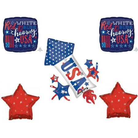 4th Of July Rocket Fireworks Party Balloons Decoration Patriotic USA](Usa Decorations)