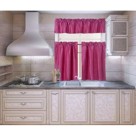 Custom Hot Rod Interiors - K3 Hot Pink 3-Piece Blackout Rod Pocket Kitchen Window Curtain Set Darkening Tier Panels Treatment with Matching Valance