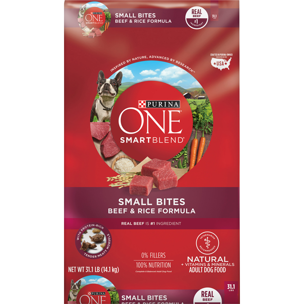 Purina ONE Natural Dry Dog Food, SmartBlend Small Bites Beef & Rice Formula, 31.1 lb. Bag