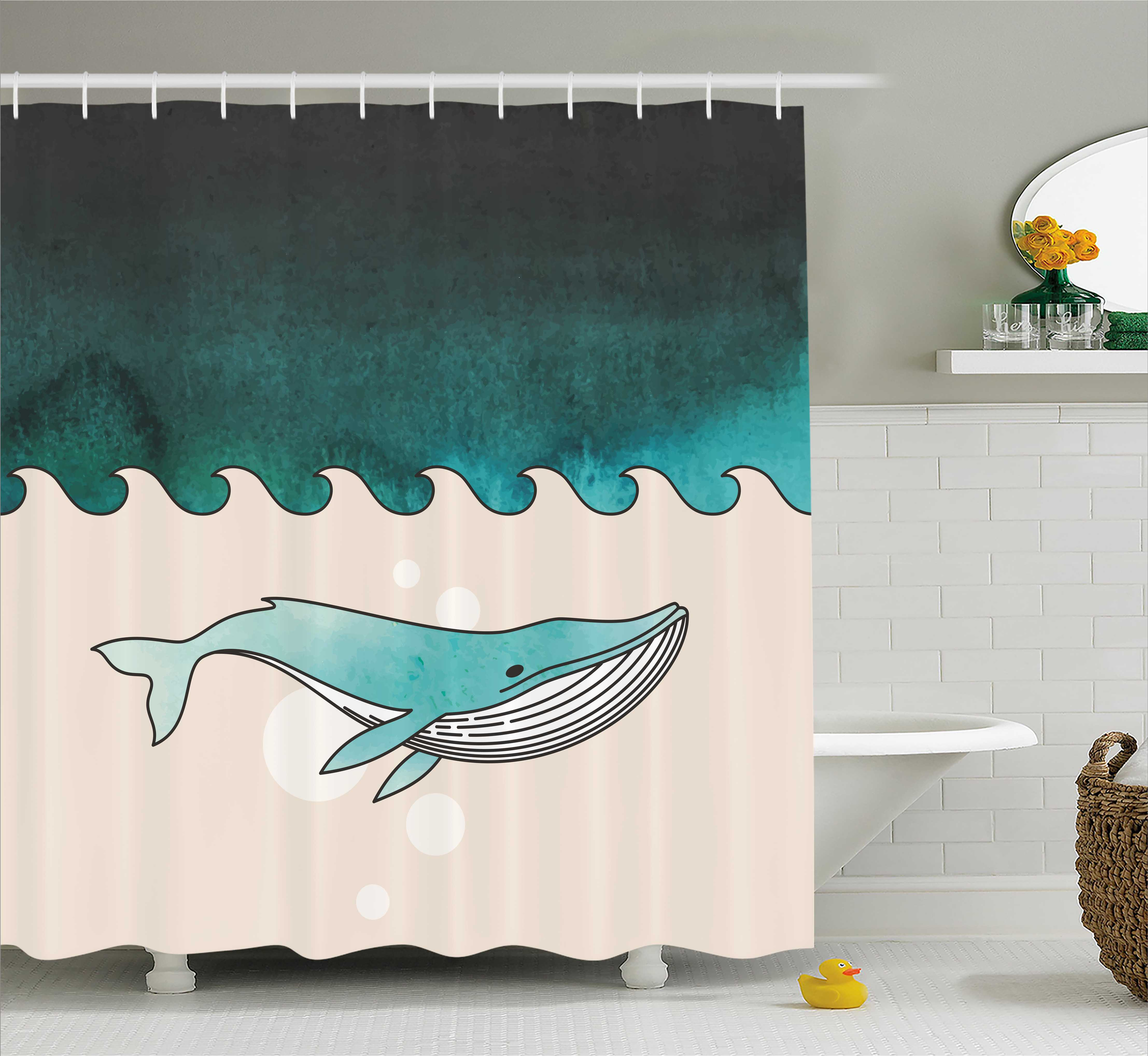 Whale Shower Curtain Fish Swimming In The Ocean Pattern Underwater Submarine Illustration Fabric Bathroom Set With Hooks 69W X 84L Inches Extra Long