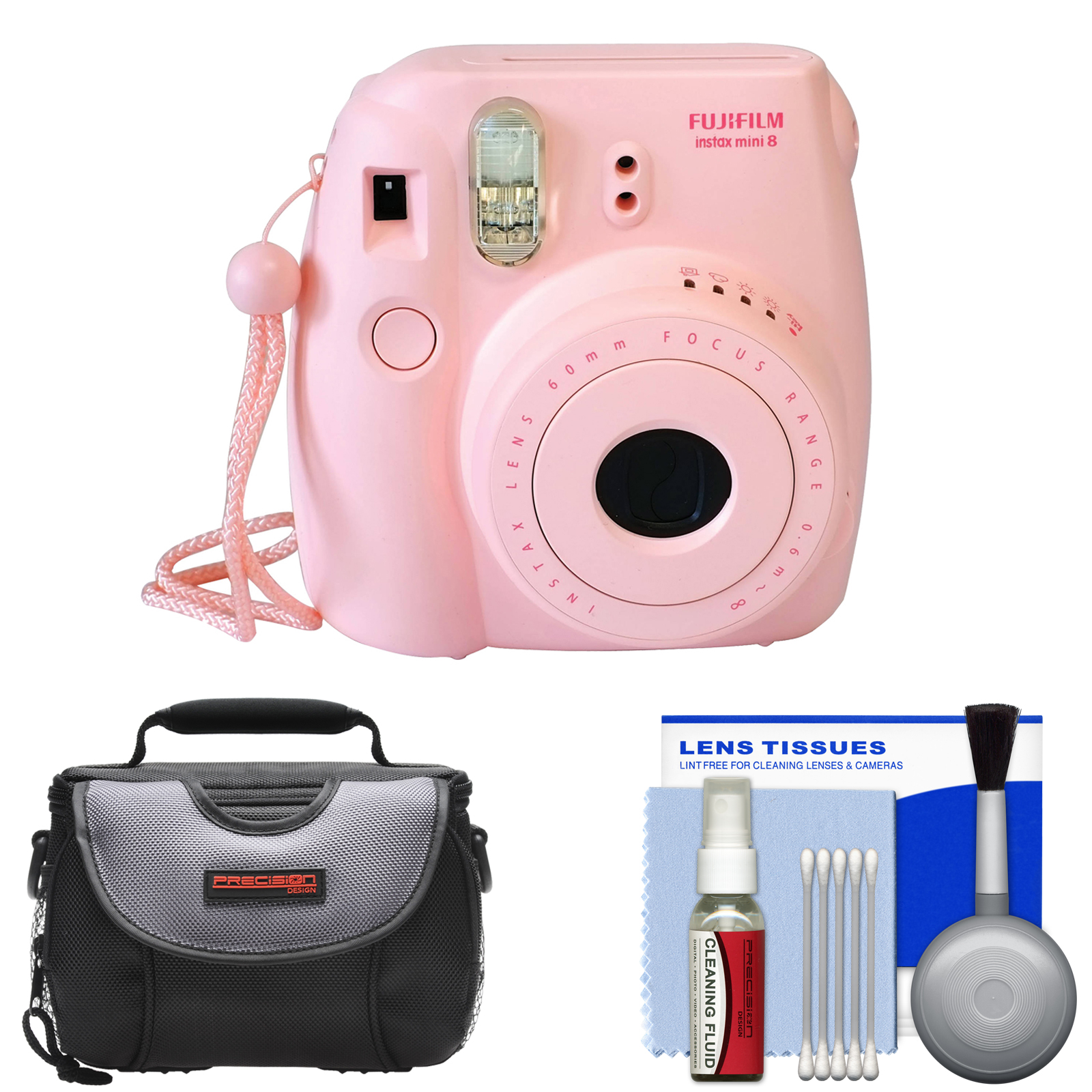 Fujifilm Instax Mini 8 Instant Film Camera (Pink) with Case + Cleaning Kit