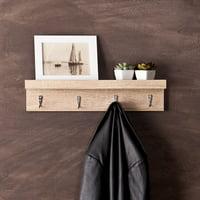 Oscar Wall-Mount Shelf with Hook, Light Oak