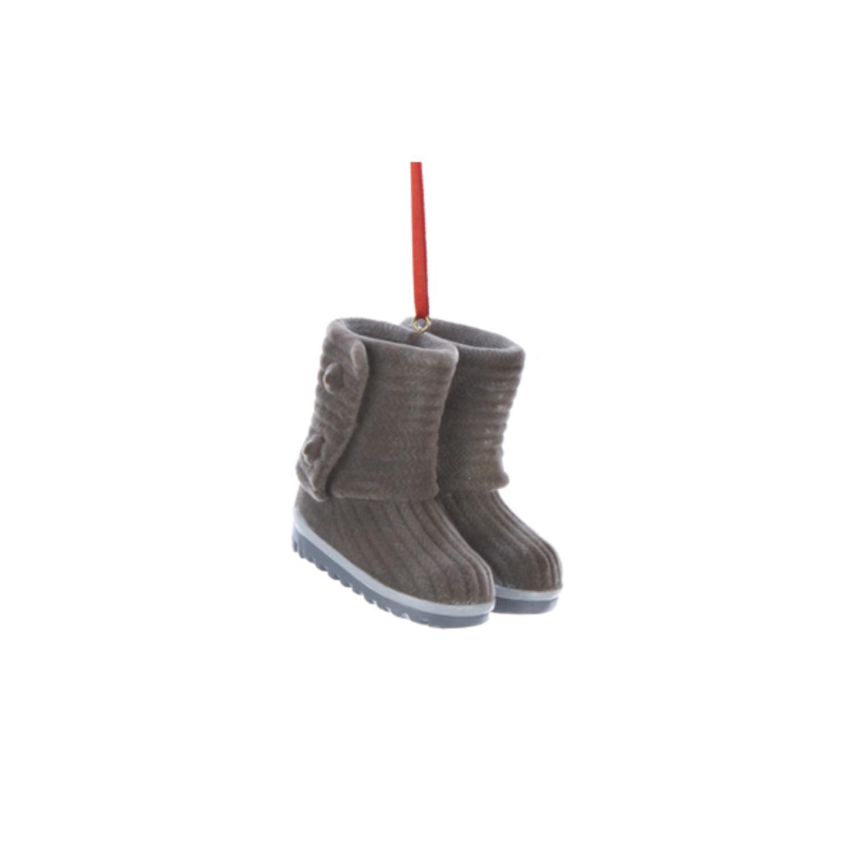 "Fashion Avenue Gray Ladies Winter Boots Christmas Ornament 2.5"""
