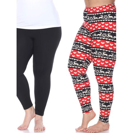White Mark Women's Pack of 2 Plus Size Leggings](Skeleton Leggings Plus Size)