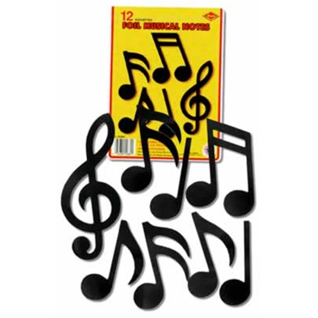 Beistle - 55881 - Foil Musical Note Silhouettes- Pack of 12