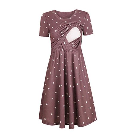 f8578611bc7 Jchiup - Jchiup Women's Maternity Short Sleeve Dot Empire Waist Nursing  Breastfeeding Dress - Walmart.com