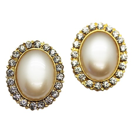 Oval Faux Pearl Clip On Earrings With Stunning Rhinestone