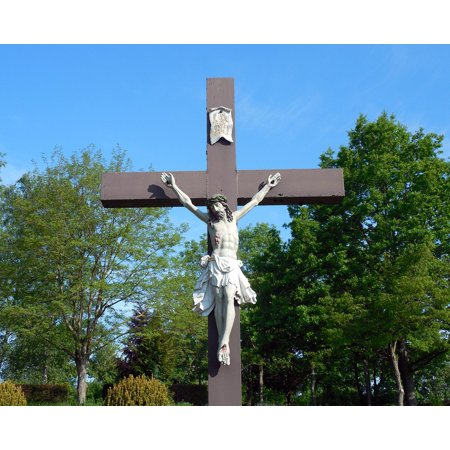 Acrylic Face Mounted Prints Religion Christian Cross Crucifix Christianity Print 20 x 16. Worry Free Wall Installation - Shadow Mount is Included.