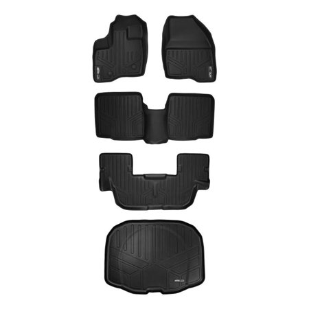 Maxliner 2011-2014 Ford Explorer 3 Row Set Floor Mats Maxtray Cargo Liner Without 2nd Row Center Console Black A0082/B0082/C0082/E0082 ()
