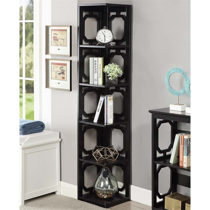 Scranton & Co 5 Shelf Corner Bookcase in Black