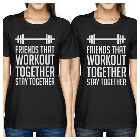 Friends Workout Together Black Best Friend Tee Shirts For