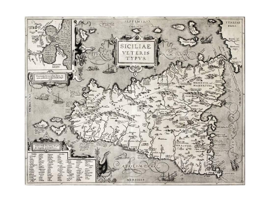 photo regarding Printable Map of Sicily referred to as Antique Map Of Sicily With Syracuse Point Laminated Print Wall Artwork By means of marzolino
