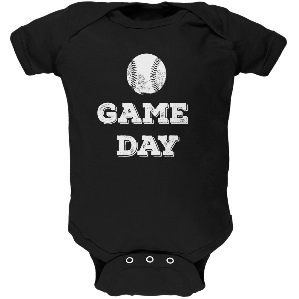 Game Day Baseball Black Soft Baby One Piece