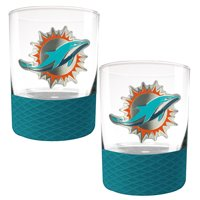 Miami Dolphins 2-Pack 14oz. Rocks Glass Set with Silcone Grip