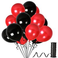 Black and Red Latex Balloons with 65 Yards Crimped Curling Ribbon Pieces Set Thick Party Decorations For Birthdays, Anniversaries and Weddings by Treasures Gifted