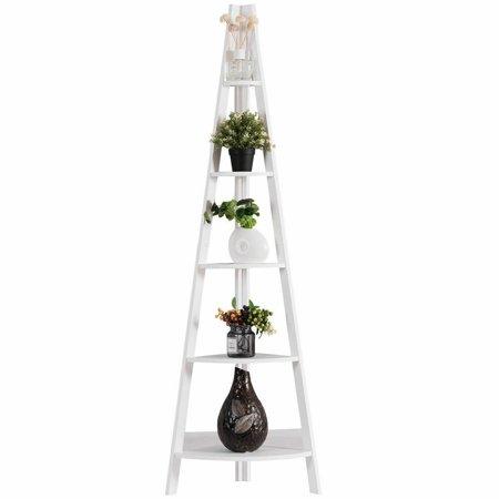 5 Tier Corner Ladder Floor Stand Shelves Bookshelf Display Office Bookcase thumbnail