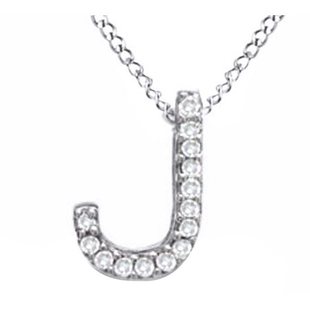 "Natural Diamond Accent Initial Letter ""J"" Pendant Necklace in 14k White Gold Over Sterling Silver"