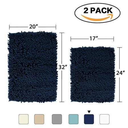 Super Soft Bath Mat Microfiber 2 Pack Bathroom Rugs Non Slip Absorbent Fast Drying