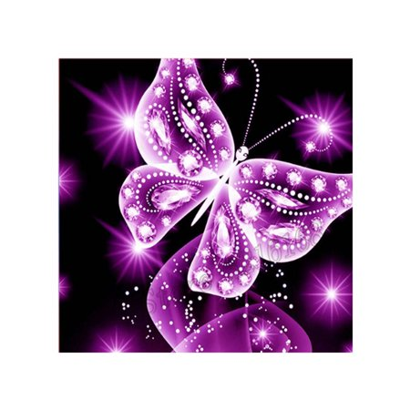 Butterfly Stitch - 5D Pink Butterfly Rhinestone Cross Stitch DIY Crystal Animal Art Needlework Home Office Embroidery Diamond Painting