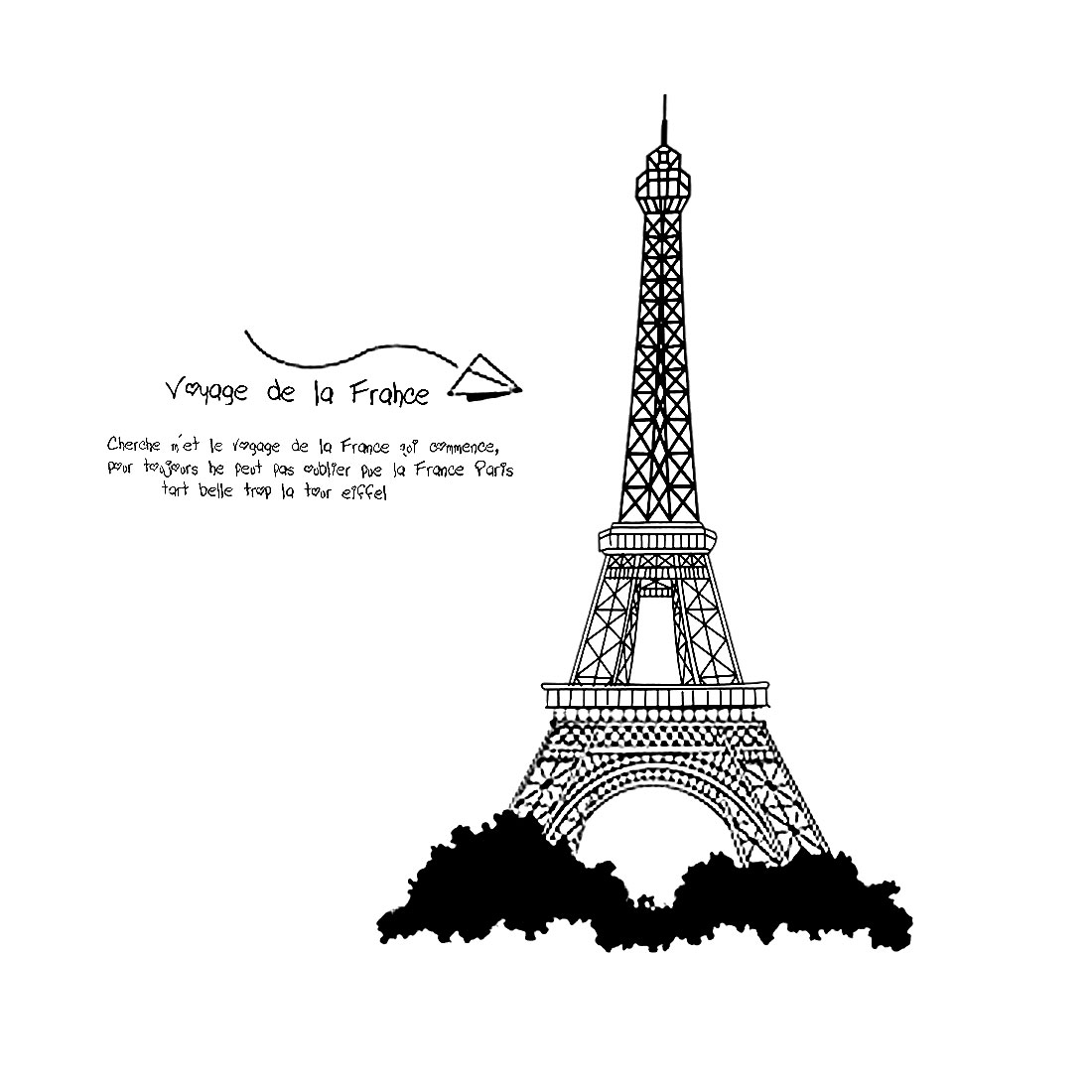 Unique Bargains Bedroom Decor Adhesive DIY Eiffel Tower Letters Wall Sticker 100cm x 90cm Black
