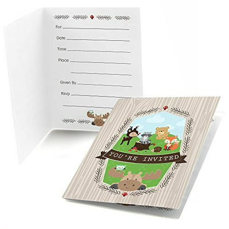 Woodland Creatures - Fill In Baby Shower or Birthday Party Invitations (8 count)