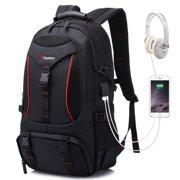 55L Men Large USB Port Headphone Hole Backpack Outdoor Sports Travel Rucksack