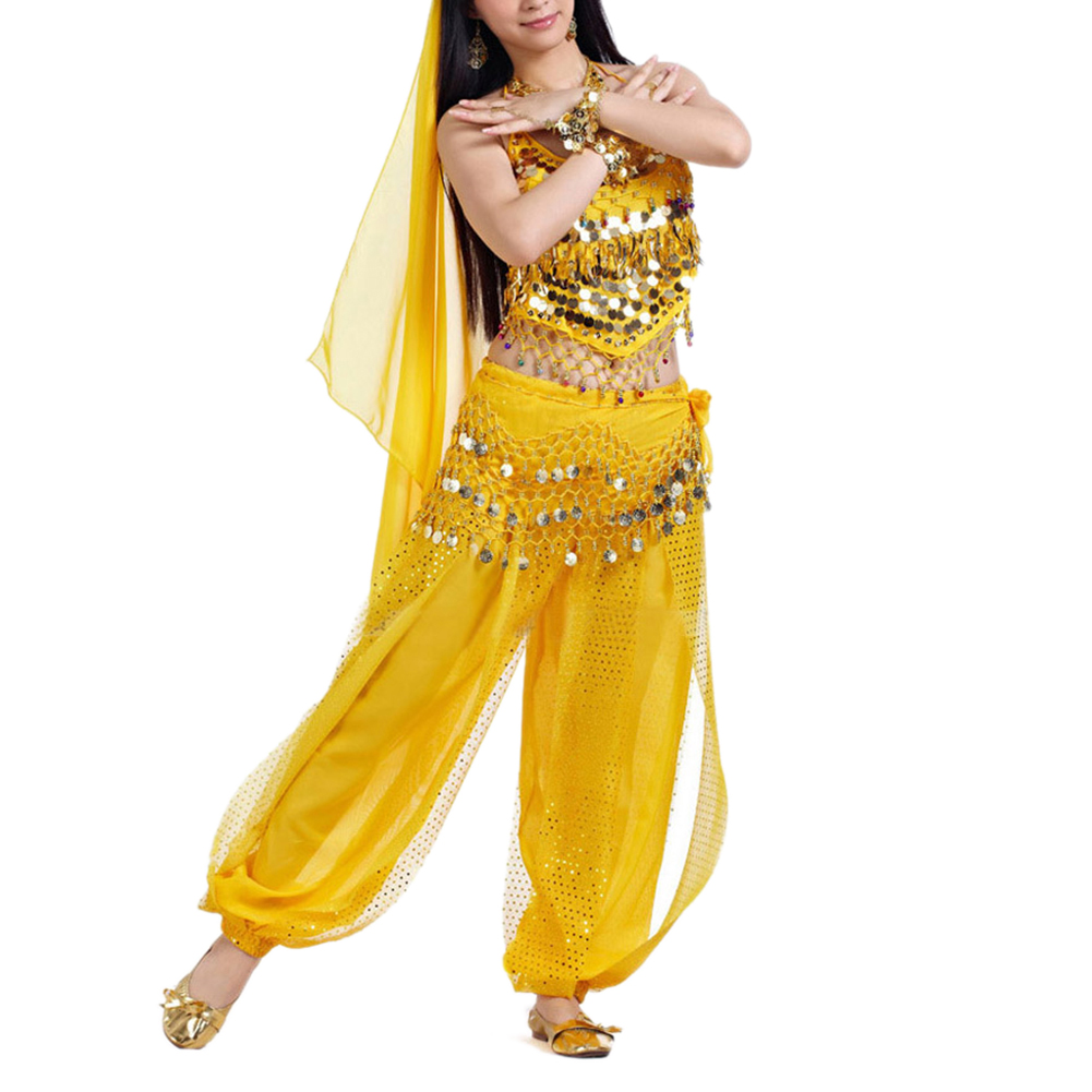 BellyLady Egyptian Belly Dance Costume, Halter Bra Top and Tribal Harem Pants-Yellow