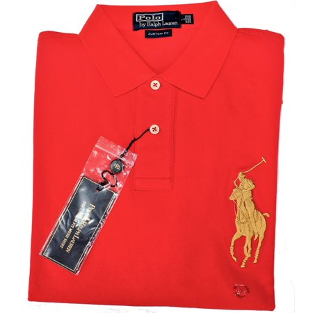 Nwt   Polo Ralph Lauren Mens Red   Gold Big Pony Custom Fit Polo Shirt  Limited Edition