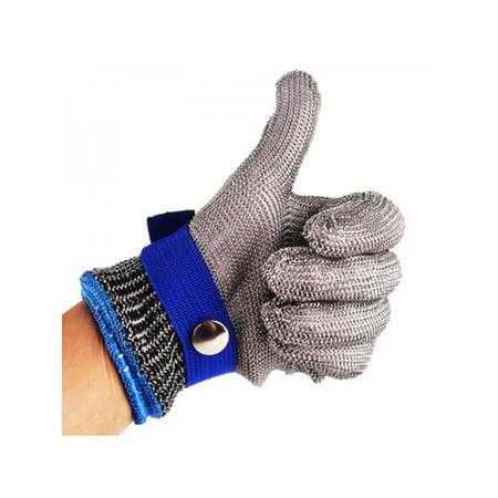 MarinaVida Stainless Steel Metal Mesh Safety Cut Proof Stab Resistant Butcher Gloves (Butchers Stainless Steel Glove)