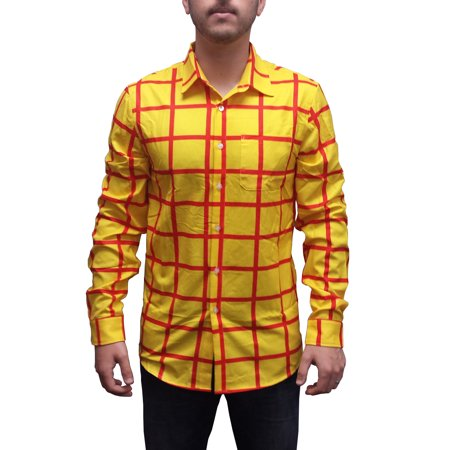 Woody Striped Shirt Toy Story Long Sleeve Costume Button Down Up Sheriff Cowboy