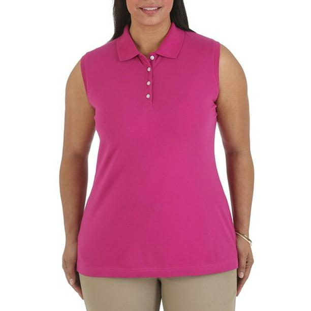 Women's Plus-Size Sleeveless Knit Polo