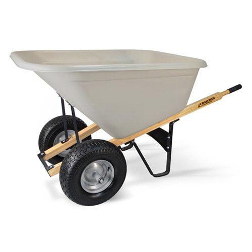 Brentwood Pro Boss 10 cu ft Double Wheel Poly Wheelbarrow