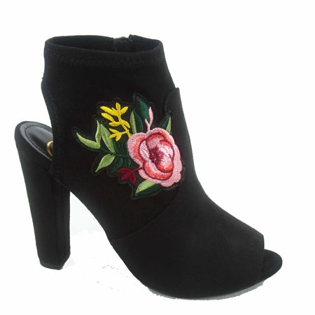 - Utopia-s Women's  Embroidered RosePeep Toe Chunky  Heeled Mule Booties