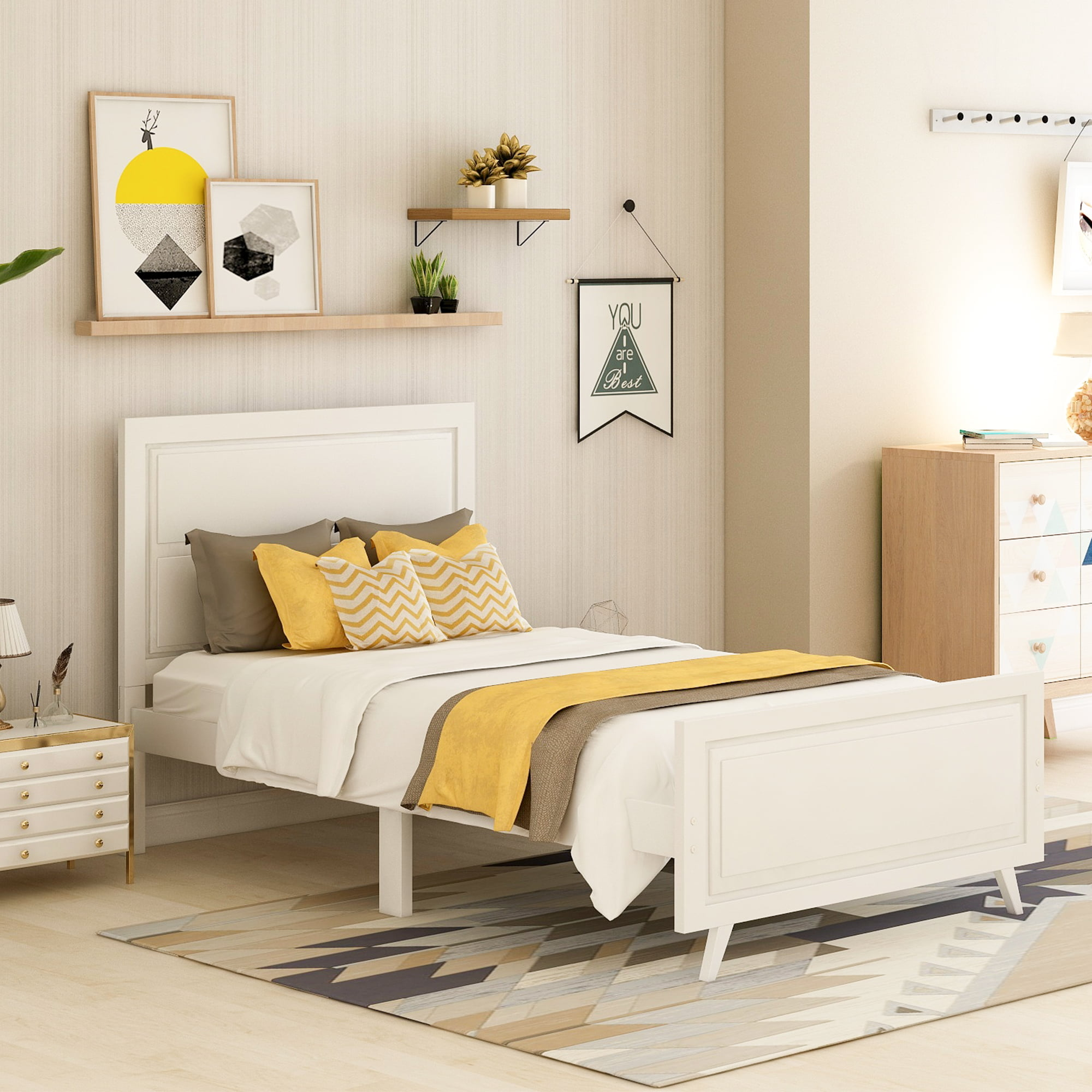 Twin Bed Frame, White Twin Platform Bed Frame with ...